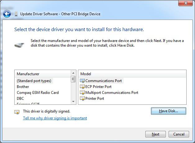 DLPCI Windows 7 32 bit driver installation